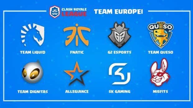 Le squadre che competono nel girone europeo della Clash Royale League.